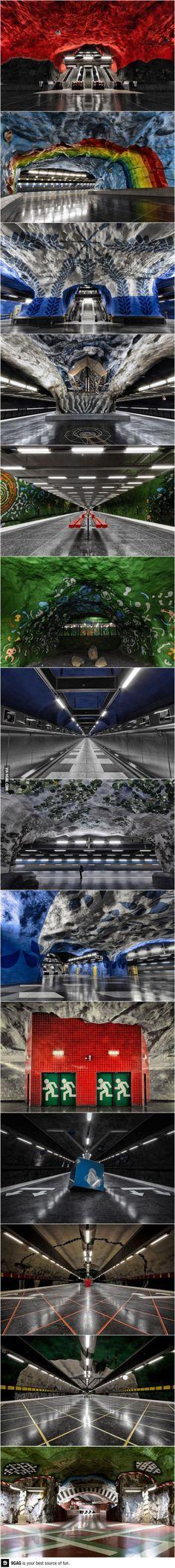 Stunning underground art In Stockholm's metro station