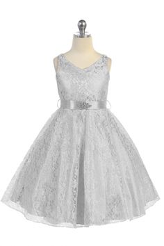 320b3241476 Silver Lace Floral Pattern Flower Girl Dress with Removable Satin Sash
