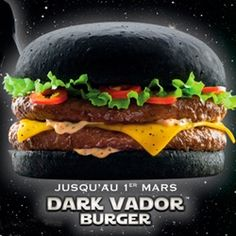 """Darth Vader Burger....Quick, a French/Belgian fast food chain, will soon offer the above Darth Vader Burger (they're calling it the """"Dark Vador"""" Burger but whatever) with a black bun! Wowsers!"""