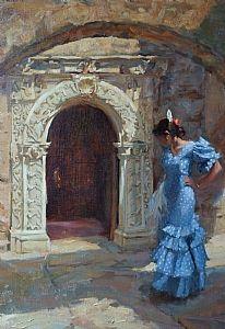Faithful (detail) by Gladys Roldan-de-Moras Oil ~ 24 x 18