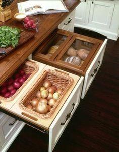 küchenideen Lebensmittel Schubladen