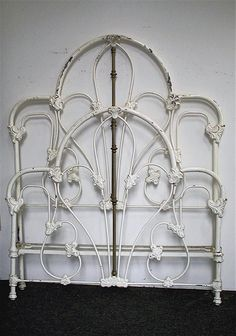 Great Tall Victorian Style Iron Bed w/ Unique French Corner Sides. Larger than normal size tubing. circa 1855    #ironbeds #antiqueironbeds