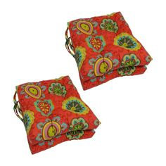 Blazing Needles 16 in. Square Outdoor Chair Cushions with Ties - Set of 4 Farrington Terrace Grenadine - Custom Outdoor Cushions, Outdoor Loveseat, Outdoor Lounge Chair Cushions, Patio Cushions, Patio Chairs, Outdoor Fabric, Tufted Chair, Ties, Entertainment Area