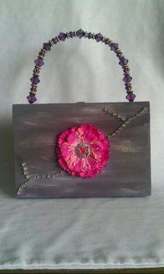 Cigar Box Purse  Pink Flower by BruyetteBags on Etsy, $50.00