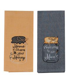 Loving this Orange & Black Honeybee Dish Towel - Set of Two on #zulily! #zulilyfinds