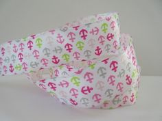 Pink and White Anchor Wired Ribbon 1 1/2 inch wide by DanJSupplies, $2.50