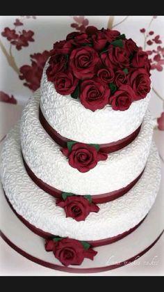 Burgundy Wedding Cake, Purple Wedding Cakes, Wedding Cakes With Cupcakes, Wedding Cakes With Flowers, Cool Wedding Cakes, Beautiful Wedding Cakes, Wedding Cake Designs, Wedding Cake Toppers, Maroon Wedding