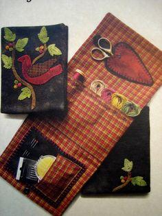 Wool Applique Patterns   Primitive Folk Art Wool Applique Pattern: Sewing Supply Case - COZY ...