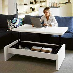 une jolie table en bois blanche, salon avec table rabattable en bois