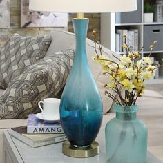 """Jasmin Blue Glass 31-inch Table Lamp - 31""""H x 15""""Rnd - On Sale - Overstock - 20818468 Traditional Table Lamps, Traditional Furniture, Modern Buffets And Sideboards, Gold Couch, Inside Bar, Pottery Painting Designs, Lamp Shade Store, Turquoise Glass, Birch Lane"""