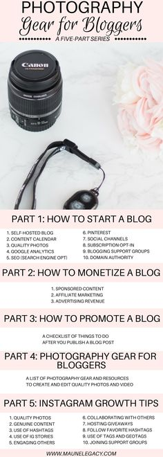 This essential photography gear for bloggers list is part of a five-part series on how to start a blog, to ensure you can produce and edit beautiful, professional quality photos and video which is a key to becoming a successful blogger.