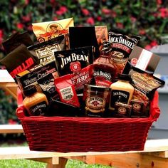 raffle basket ideas for men- this ones awesome! Jim Bean and Jack Daniels basket!