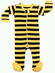 Leveret Bee Striped Sleeper sleepwear 3T Toddler Black & Yellow New #Leveret #OnePiece