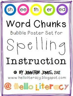 Word Chunks Poster Set for Phonics  Spelling Instruction