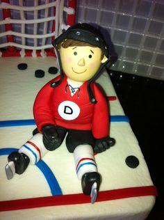 Hockey player cake topper. Cake figurine.