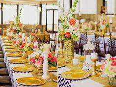coral navy gold wedding table decor - with aqua/fuschia instead of navy!