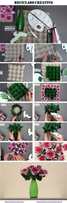 Já aqui falei da vestalidade das caixas de ovos. As caixas de ovos de cartão são perfeitas para fazer uma série de ideias que pode utilizar na decoração da sua casa, ou na criação de brinquedos para os mais pequenos. Hoje vou mostrar imensas formas de transformar simples caixas de ovos em flores. Pode utilizar estas