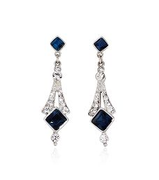 Bridal Crystal Sapphire Deco Earring by Ben Amun | Thomas Laine - My Earrings!