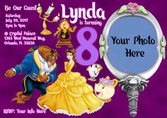 Beauty and the beast birthday invitations beauty and the