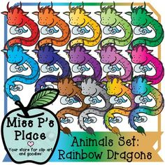 Animals Clip Art Set: Rainbow Dragons [Miss P's Place]   This is a product of dragons in many different colors coming with a total of 15 images! You will get 14 colorful variations of a dragon and 1 BW image. This set has vibrant colors and the color options create a lot of opportunity for use in centers, boards, and game pieces!