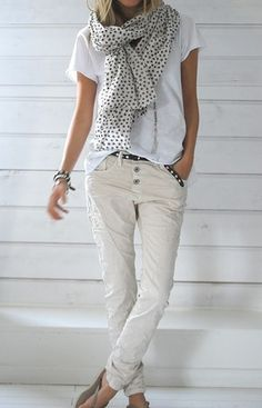 Casual and comfortable neutrals with a great scarf.