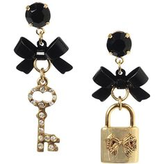 Betsey Johnson Bow Lock Key Mismatch Earring ($35) ❤ liked on Polyvore