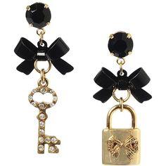 Betsey Johnson Bow Lock Key Mismatch Earring ($35) ❤ liked on Polyvore
