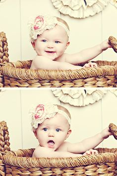 Baby in woven basket