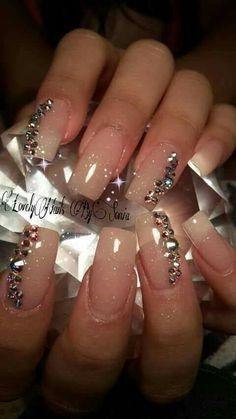 39 Ideas Nails Acrilico Naturales Elegantes For 2019 Manicure Nail Designs, Manicure E Pedicure, Bling Nails, Fun Nails, Glitter Nails, Nails Design With Rhinestones, Rose Nails, Super Nails, Creative Nails