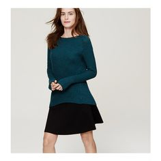 LOFT Mixed Stitch Tunic Sweater ($45) ❤ liked on Polyvore featuring tops, sweaters, deep turquoise melange, loft tops, ballet neck top, textured sweater, long sleeve sweaters and loft sweaters