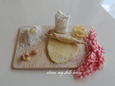 Italian Noodles Preparation Board, Dollhouse Miniature Handmade, 1:12  Scale Dolls House. €35.00, via Etsy.