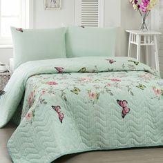 Pikowana narzuta i poszewki na poduszki Elis Mint, 200x220 cm