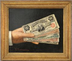 Victor Dubreuil (1846-1946)  Hand Over the Money  American Trompe L'oeil Images of Currency  oil on canvas  signed lower left: V. Dubreuil  Berry-Hill Galleries N.Y. label on reverse, catalogue [...more]  Estimate: $4000 - $8000