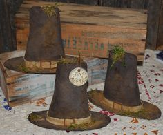 Primitive Pilgrim Hats Rustic Shelf Sitters Bowl Fillers by Olde Annie Primitives