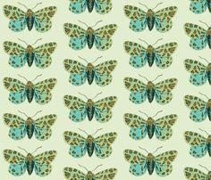 Small Tiger Moth Sweetfern fabric by gollybard on Spoonflower - custom fabric