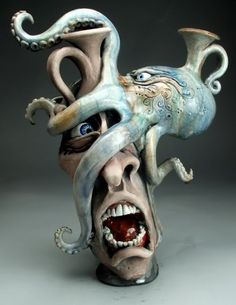 Figurines of intrigue.  Mitchell Grafton – Octopus Jug Ceramic Sculpture – grotesque ware