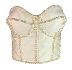 1667e9fd59 NWT S S 1992 Dolce   Gabbana Runway Ivory Pearl Embellished Corset Bustier  Top