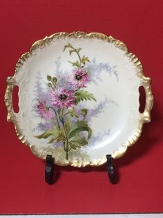 """Gorgeous Antique Limoges Plate With Handles 10"""""""