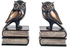 Beautiful bronzed bookends in the shapes of owls Unique and feminine styling A beautiful display for your home or work Dimensions: Colour: bronze Composition: other materials Care: wipe clean < Owl Books, Finding God, Beautiful Birds, Cleaning Wipes, Bookends, Art Deco, Creatures, Bronze, Pottery