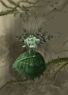 Green Dart by Sophia Kolokouri Earth Spirit, World Of Fantasy, Love Fairy, In The Tree, Fairy Art, Illustration Art, Art Illustrations, Paranormal, Faeries