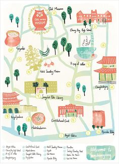 Samcheongdong Map illustration, map,South Korea, color,famous place, traveling /