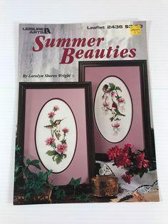 HUMMINGBIRD CROSS STITCH PATTERN, bird & flower cross stitch, Leisure Arts book #LeisureArts