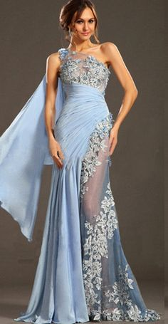 Elegant One Shoulder Light Blue Chiffon Long Prom Dress With Appliqued Formal  Evening Party Gowns  b4309d484d0b