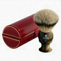 Edwin Jagger: Kent Medium Horn Best Badge Traditional Shaving Brush. A striking shaving brush w/genuine best badge bristles and a synthetic horn handle. Badger hair bristles are ideal for wet shaving. It is housed in an elegant felt-lined red presentation box w/gold detailing and a snap closure. All Kent Brushes are made in England and have 1 year manufacturer warranty. Priced at: $122.95.