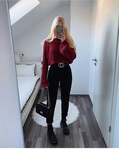 Basic Outfits, Cute Casual Outfits, Simple Outfits, Short Outfits, Girls Fashion Clothes, Winter Fashion Outfits, Look Fashion, Fashion Pants, Spring Outfits For School
