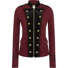 Denim & Supply Ralph Lauren Military Jacket With Velvet Trims ($290) ❤ liked on Polyvore featuring outerwear, jackets, coats, tops, coats & jackets, red military jacket, zipper jacket, military jacket, cotton field jacket and red jacket