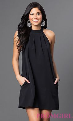 Image of short open-shoulder high-neck shift dress Detail Image 1