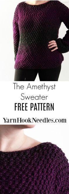 The Amethyst Knit Sweater - FREE Knitting Pattern by YarnHookNeedles - YarnHookNeedles