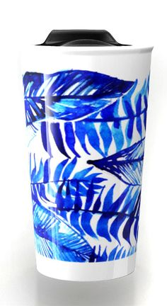Giant tropical floral shapes and designs in bold colors for your coffee. - jungle mug, tropical mug design, leaf mug, leaf ceramic travel mug. blue mug.