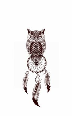 owl and dream catcher by on DeviantArt Baby Owl Tattoos, Tribal Owl Tattoos, Geometric Owl Tattoo, Feather Tattoo Design, Owl Tattoo Design, Feather Tattoos, Atrapasueños Tattoo, Cover Tattoo, Body Art Tattoos